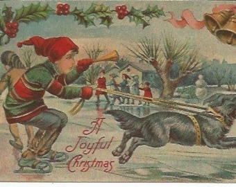 Antique Joyful Christmas Postcard