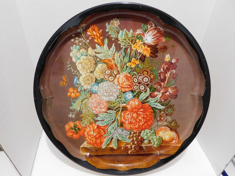 Vintage Daher Decorated Ware Made In England Floral Tin Round Etsy
