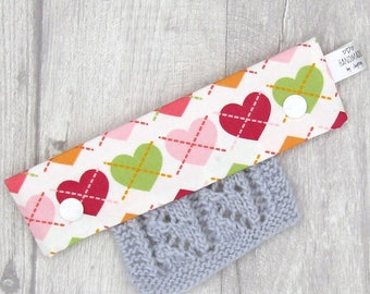 Colourful Hearts 6 inch DPN knitting needle holder
