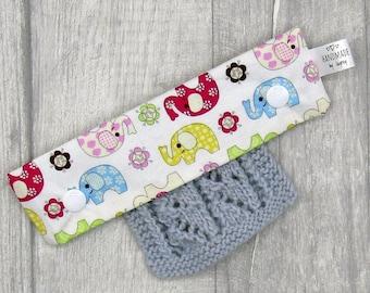 Colourful Elephants 6 inch DPN knitting needle holder