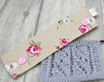 Tea Roses 6 inch DPN knitting needle holder