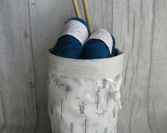 Bears & Trees Drawstring Knitting Project Bag, Crochet Project Bag, Reversible, knitting, crochet, weaving, embroidery, craft projects, dice
