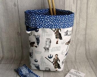 Star Wars Knitting Project Bag, Reels Crochet Bag, dice bag, fox sock project bag, wip bag, drawsting bag, crochet, weaving, embroidery