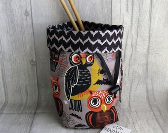 Owls & Cobwebs Knitting Project Bag, Reels Crochet Bag, dice bag, fox sock project bag, wip bag, drawsting bag, crochet, weaving, embroidery