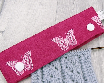 Pink and White Butterflies  6 inch DPN knitting needle holder