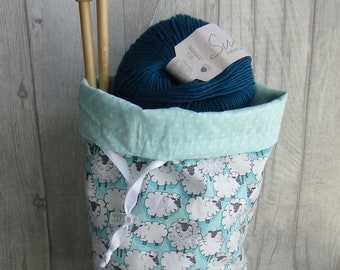 Turq Sheep Knitting Project Bag Crochet Project Bag, dice bag, sock project bag, drawsting bag, crochet, weaving, embroidery, craft projects