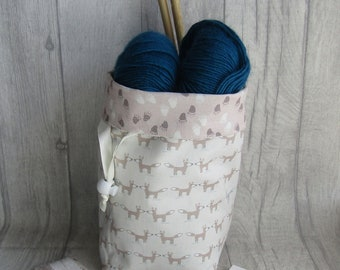 Foxes Knitting Project Bag, Fox Crochet Bag, dice bag, fox sock project bag, wip bag, drawsting bag, crochet, weaving, embroidery,