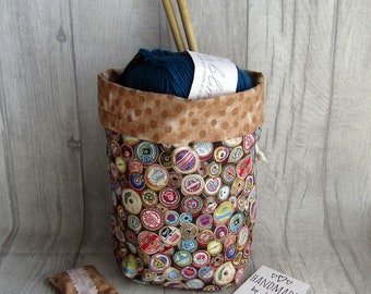 Cotton Reels Knitting Project Bag, Reels Crochet Bag, dice bag, fox sock project bag, wip bag, drawsting bag, crochet, weaving, embroidery,