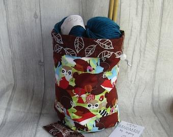 Woodland Creatures Knitting Project Bag, Crochet Bag, dice bag, sock project bag, wip bag, drawsting bag, crochet, weaving, embroidery,