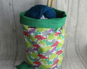Dinosaur Knitting Project Bag, Dinosaur Crochet Bag, dice bag, sock project bag, wip bag, drawsting bag, crochet, weaving, embroidery,