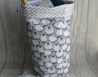 grey Sheep Knitting Project Bag Crochet Project Bag, dice bag, sock project bag, drawsting bag, crochet, weaving, embroidery, craft projects