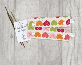 SECOND - Colourful Hearts 6 inch DPN knitting needle holder