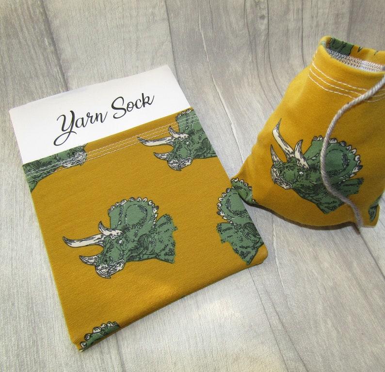 Dinosaur Yarn Sock / Yarn Sleeve Triceratops Yarn Bowl image 0
