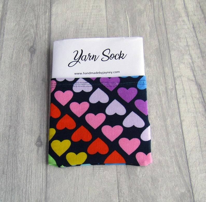 Rainbow Hearts Yarn Sock / Yarn Sleeve image 0