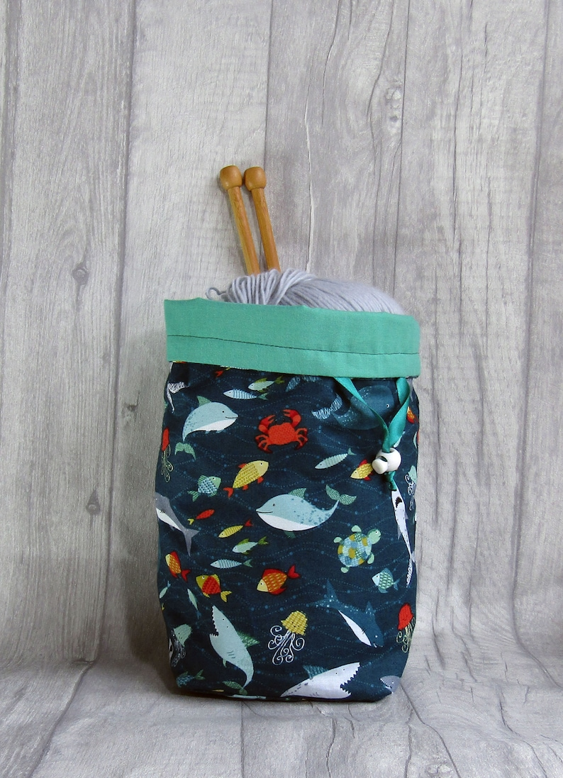 Sealife Drawstring Knitting and Crochet Project Bag fetauring image 0