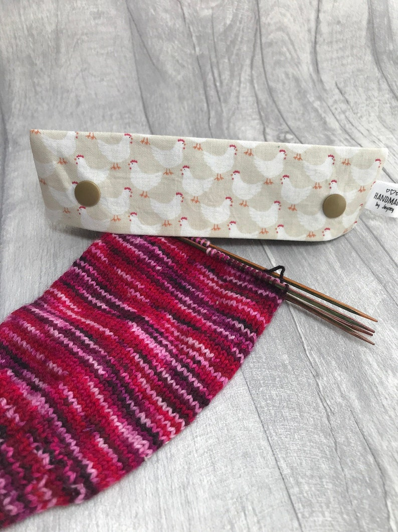 Chickens 6 inch DPN knitting needle holder image 0