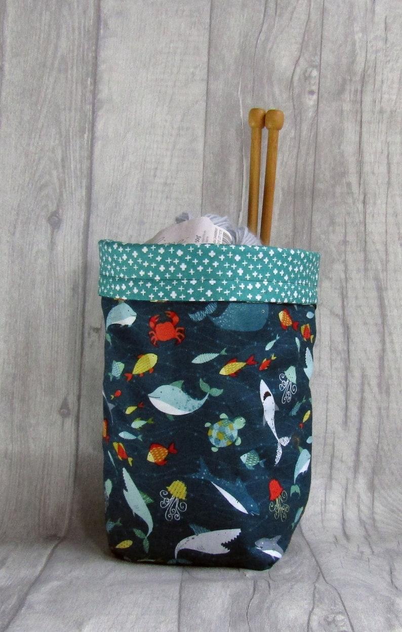 Sealife Drawstring Knitting and Crochet Project Bag fetauring image 0