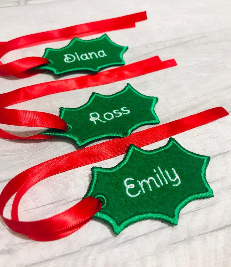 Holly Stocking Name Tags Christmas Gift Tags image 0