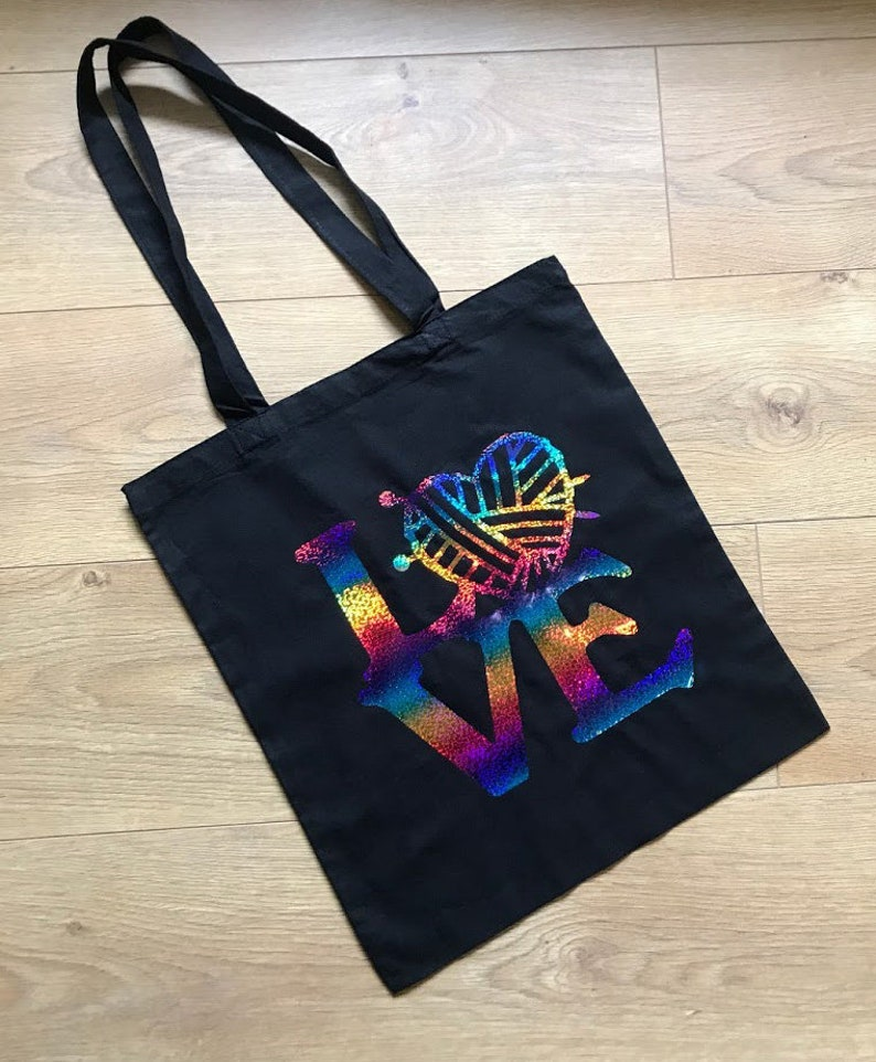 SECOND  Love Yarn Tote Bag  Rainbow Sparkle tote bag image 0