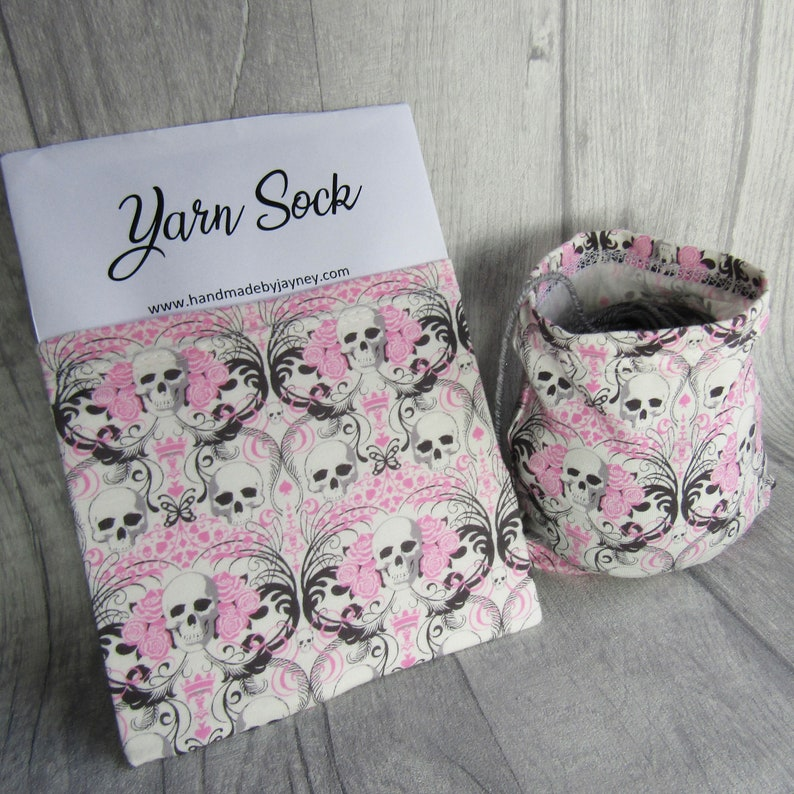Pink Skulls and Roses Yarn Sock / Yarn Sleeve image 0