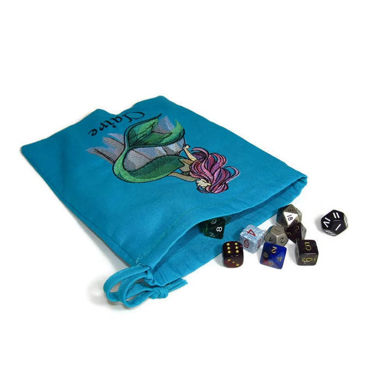 Turquoise Personalised Dice Bag