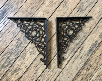 Set of two Victorian Shelf Brackets, Cast Iron, Bracket, Decorative, Shelf Brackets, Iron, Metal, Victorian, Edwardian, Eastlake, Pair