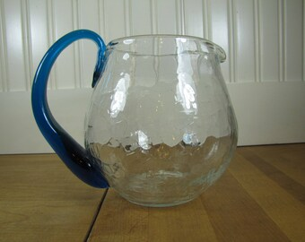 1960u0027s Crackle Glass Pitcher, Pitcher, Aqua, Crackle Glass, Art Glass, Glass,  Modern, Hand Blown, Clear, Small,