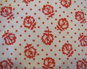 1950 39 s Red and White Dotted Floral Fabric, Cotton, Quilters Weight Fabric, Floral, Flower, Red and White, 1950 39 s