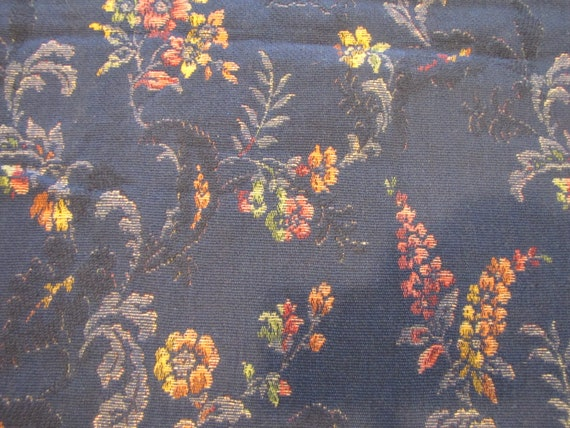 1950 S Blue Wildflower Floral Tapestry Upholstery Fabric Etsy