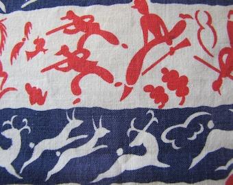 Hunting Scene Flour Sack Fabric, Novelty Feed Sack, Flour Sack Fabric, Grain Sack Fabric, Feedsack Fabric, Novelty Fabric