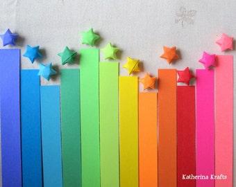SALE!!! Origami Stars Paper Strips, 200 count, Rainbow Multicolor