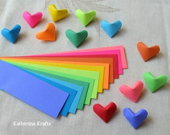 SALE!!!  Origami Hearts Paper Strips, 200 count, Rainbow Multicolor