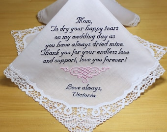 Mother of Bride Wedding Handkerchief by Embroidered Personalized #18040518