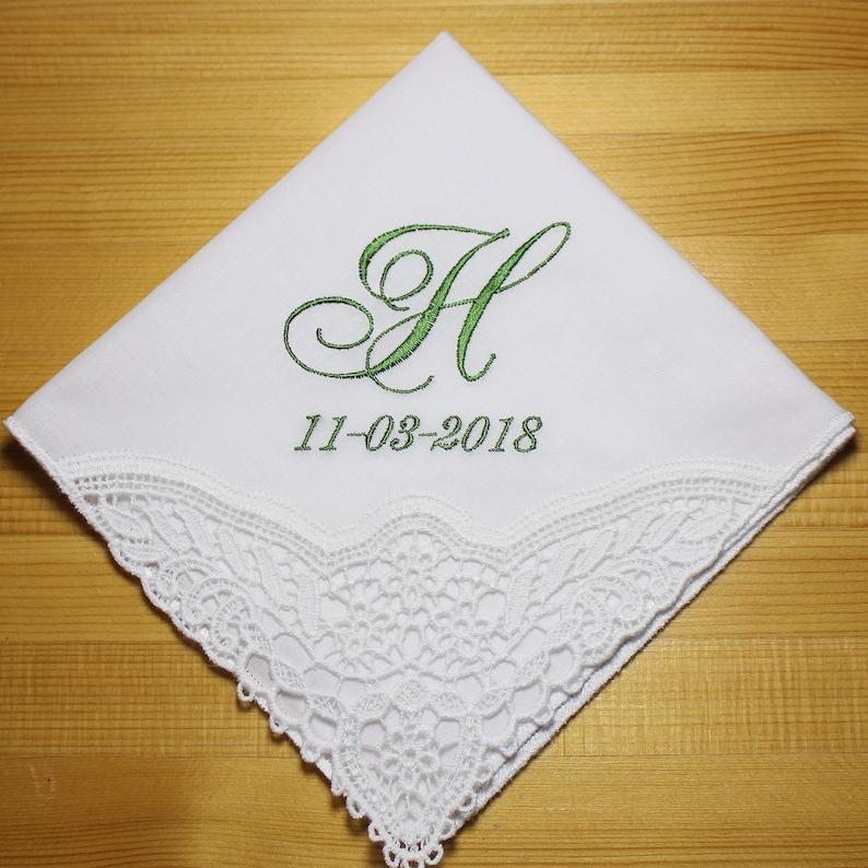 2b83f1dc0e Corner Lace Wedding Handkerchief with Initial Monogram Font