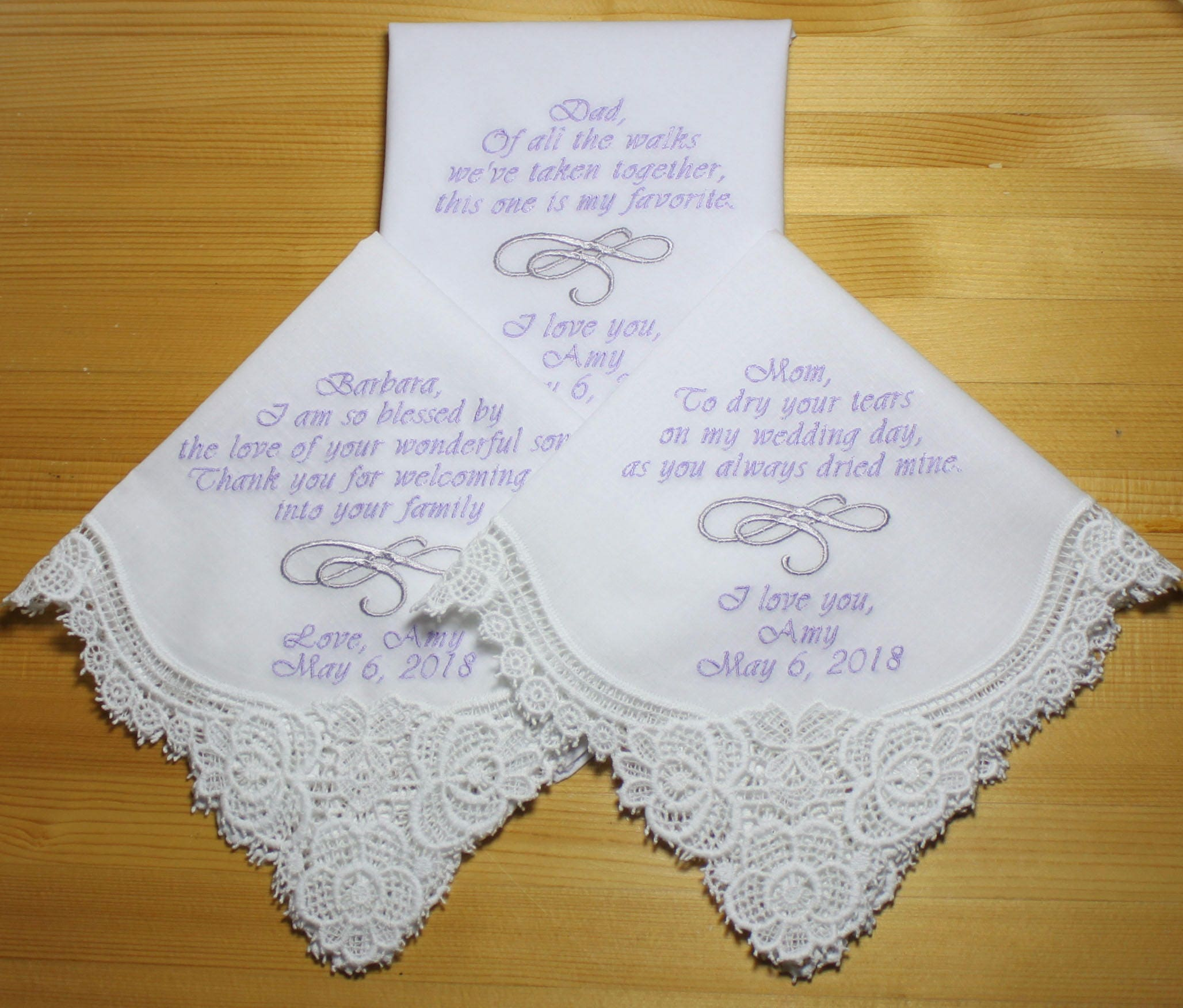 Wedding Handkerchiefs Embroidered To Mother Of Bride