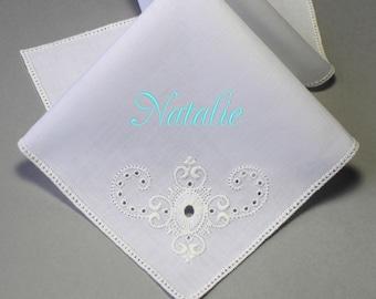 Flower Girl Personalized Embroidery Wedding Handkerchief (Small Hankie) Custom Monogram