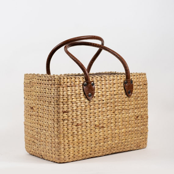 Handwoven straw bag straw handbag seagrass basket straw  8bc65c45a1652