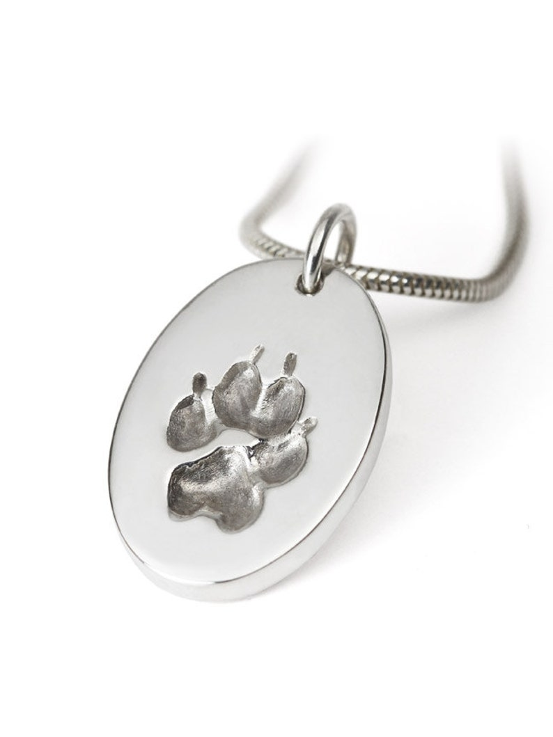 Pawprint necklace personalized actual pawprint dog paw image 0