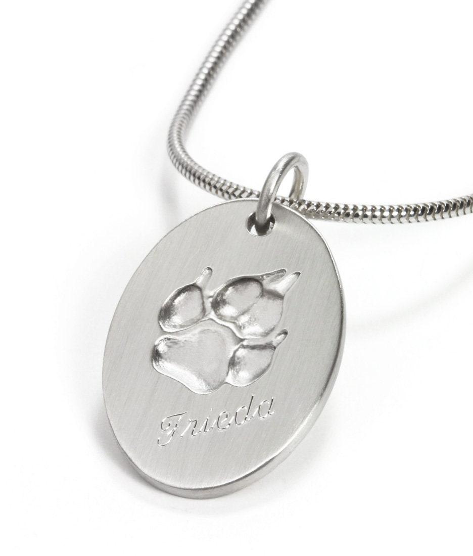 Frauen Haustier Hund Abdrücke Katze Pfote Anhänger Kette Halskette Schmuck Z wg
