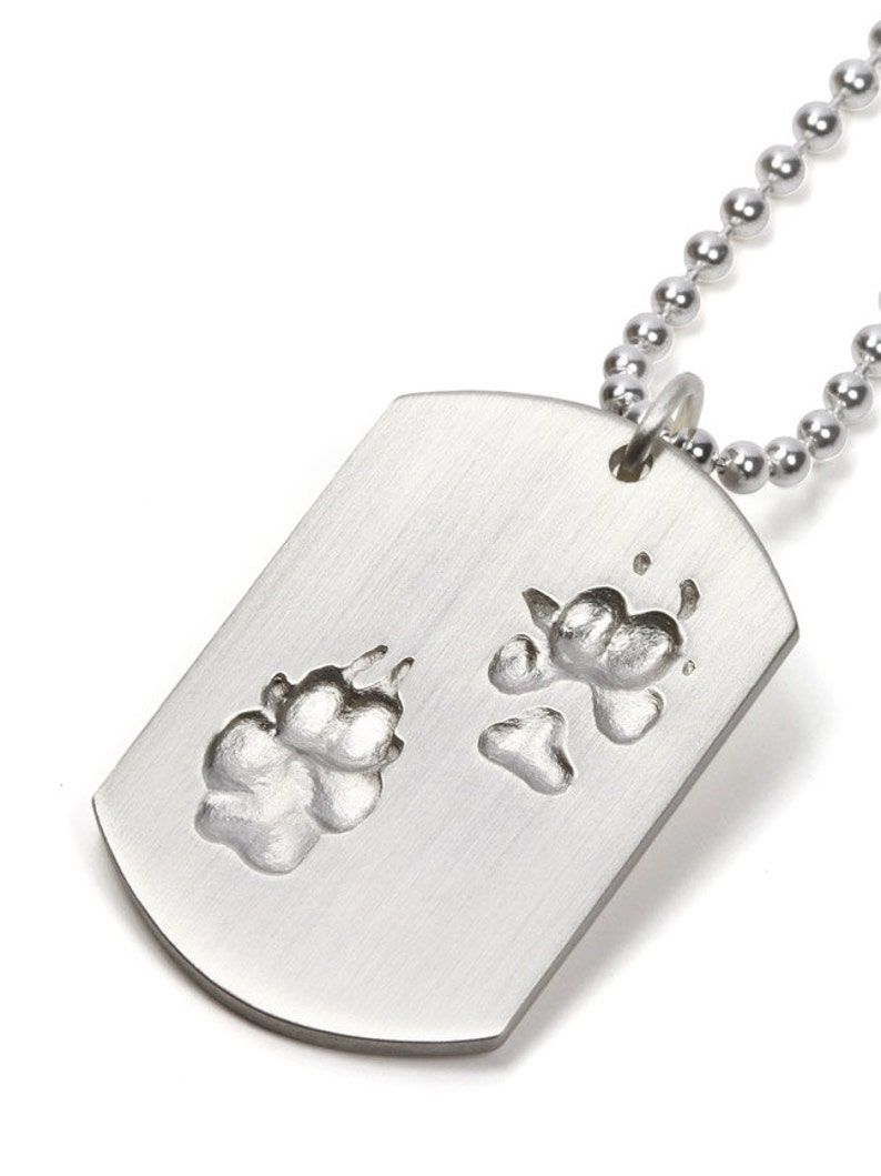 Pawprint dogtag pendant personalized gift for dog owner dog paw print dogtag gifts for dog lovers pet loss jewelry personalized