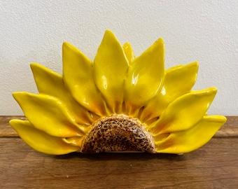 Sunflower, Natural Branch Napkin Holder, Gift , Rustic Paper Napkin Holder, Picnic Holder, Ceramic Sunflower Napkin Holder, outdoor decor