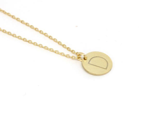 Gold Letter necklace. Initial tag necklace . Gold vermeil initial chain jewelry. Tag laser engraved initial. Personalized name necklace