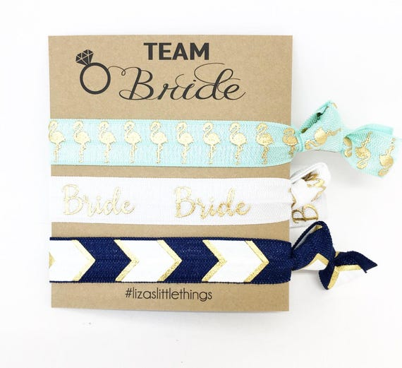 Team Bride gifts. Bridal hair ties. Hen party wedding gifts. Personalized bridal gift. Elastic hair ties gift. Bachelorette party favor