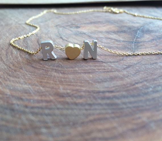 Heart and Initial Necklace. Tiny letter necklace. Valentines Day Gift. Love Personalised Necklace. Monogram necklace. Christmas gift