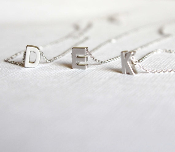 Silver initial necklace. letter necklace. personalized jewelry. Monogram necklace.Name necklace. Initial necklace for women. initial jewelry