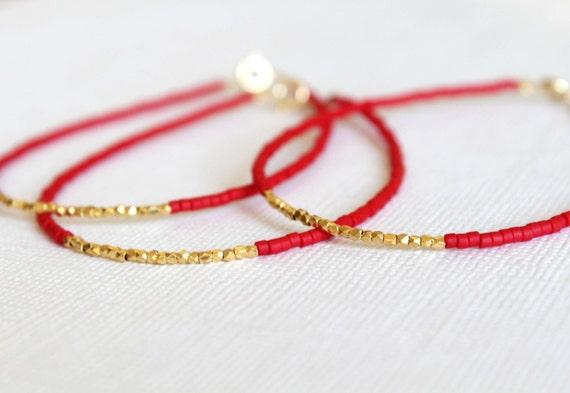 Gold vermeil bracelet - beaded bracelet - christmas bracelet - christmas gift - Friendship bracelet