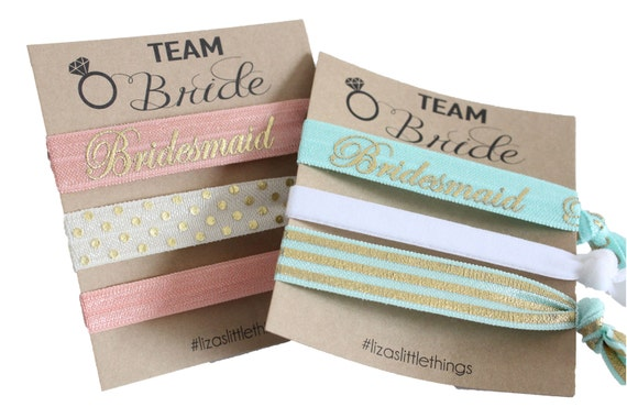 Bridesmaids hair ties. Fold over Elastic wedding gifts. Personalized bridal gift. Foe hair ties gift. Bachelorette party favor