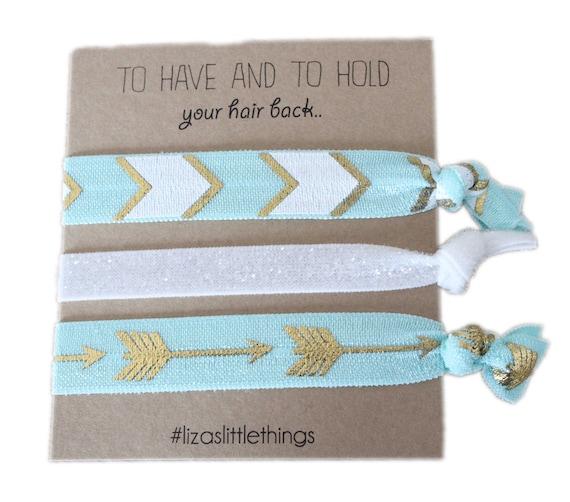 Foe Hair ties. Mint Bridesmaids hair ties. Fold over Elastic wedding gifts. Friendship Foe hair ties. Bachelorette party