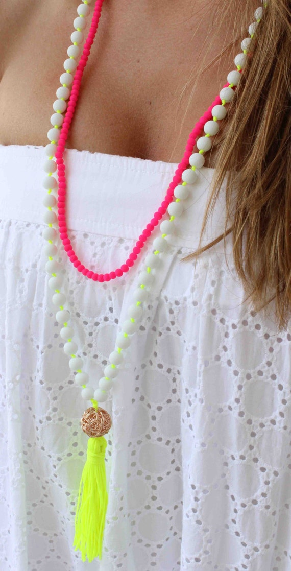 Neon Yellow Necklace - White Beaded Necklace - Tassel Necklace - Long Necklace