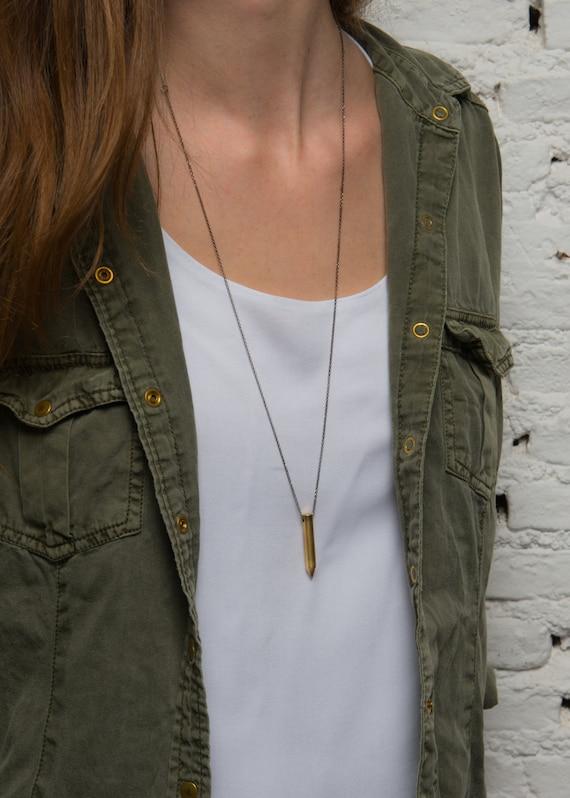 Brass Bullet Necklace. Bullet Sterling Silver Necklace. Minimalist Bullet Necklace. Layering Necklace